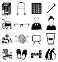 Old age retired people icons set