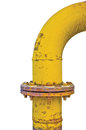 Old aged weathered grunge gas pipe connection flange joints, large detailed vertical isolated yellow pipeline closeup Royalty Free Stock Photo