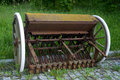 Old agricultural equipment seeder machine Stock Photos