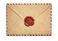 Old air letter envelope with red wax seal isolated Royalty Free Stock Photo