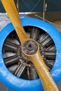 Old aircraft engine with wood propeller Royalty Free Stock Photo