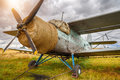 Old airplane on field Royalty Free Stock Photo