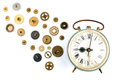 Old alarm clock with it s inner parts a retro gears and cogs appearing as they are leaving or building the workings Stock Photography