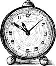 Old alarm vector drawing of a clock Royalty Free Stock Photos