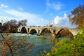 Old alike stone bridge Greece Royalty Free Stock Photos
