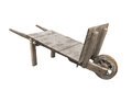 Old all wood wheel barrow isolated. Royalty Free Stock Image