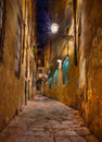 Old alley in florence oil painting on canvas depicting a narrow at night tuscany italy Stock Photography
