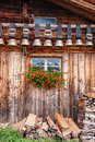 old Alpine hut with cow bells under the roof in the Grindelwald area, Swiss Alps Royalty Free Stock Photo