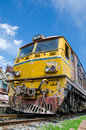 Old alsthom locomotive head parking at kabinburi station thailand Royalty Free Stock Image