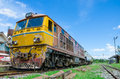 Old alsthom locomotive wait for time out at kabinburi train station in afternoon thailand Stock Photo