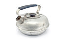 Old aluminum teapot on white Stock Images