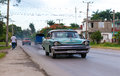 Old american cars in cuba santa clara june car transporting passengers where transportation is an issue and expensive to many Stock Photo