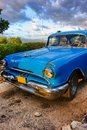 Vintage American car near Trinidad, Cuba Royalty Free Stock Photo