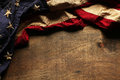 Old American flag for Memorial Day or 4th of July Royalty Free Stock Photo