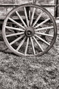 Old American Prairie Schooner Wagon Wood Wheel Stock Image