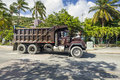 Old American truck in a street of Road Town in Tortola. Royalty Free Stock Photo
