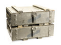 Old ammunition boxes Royalty Free Stock Photo