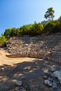 Old amphitheater phaselis in antalya turkey archaeology background Stock Photography