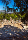 Old amphitheater phaselis in antalya turkey archaeology background Royalty Free Stock Photography