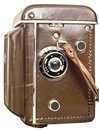 Old Analog Twin Lens Reflex Camera In Brown Leather Case Isolated On White Background