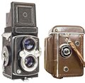Old Analog Twin Lens Reflex Camera Without And in Brown Leather Casing Isolated On White Background