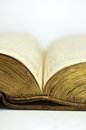 Old ancient book opened close up shot of an open Royalty Free Stock Photography