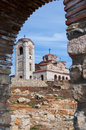 Old ancient church plaosnik in ohrid macedonia on lake coast Stock Photography