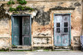 Old ancient door and window with old grunge brick wall Royalty Free Stock Photo