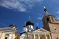 Old ancient medieval russian white orthodox church with black do Royalty Free Stock Photo