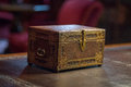 Old ancient secret casket on a desk Royalty Free Stock Photo