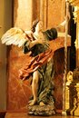 Old Angel sculpture carved in wood in Murcia Royalty Free Stock Photo