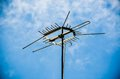 Old antenna for television silhouetted image silhouetted Stock Images