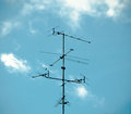 Old antenna for television silhouetted image silhouetted Stock Photos
