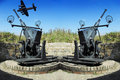 Old anti-aircraft guns a fighter plane Royalty Free Stock Photo