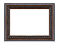 Old antique black frame isolated decorative carved wood stand Royalty Free Stock Photo