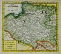 Old antique map of poland engraved by robert vaugondy and published in Royalty Free Stock Image