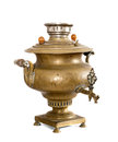 Old antique samovar brass isolated on a white background Royalty Free Stock Photos