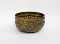 Old antique vintage brass bowl on white Royalty Free Stock Photography