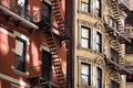 Old apartment building with fire escapes, Manhattan Royalty Free Stock Photo