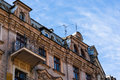 Old apartment building top of a in poznan poland Royalty Free Stock Photos