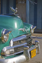 Old aqua blue Cuban car front, Vinales Royalty Free Stock Photo