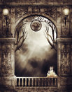 Old arch with lamps and candles gothic burning fantasy Royalty Free Stock Photography