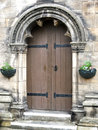 Old arched church doorway closeup of st andrews scotland Royalty Free Stock Image