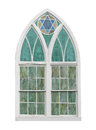 Old arched church window isolated. Royalty Free Stock Photo