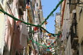 Old area in alfama in lisbon portugal houses little alley Stock Images
