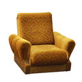 Old armchair yellow isolated on a white background Royalty Free Stock Photo