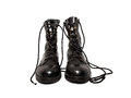 Old army boots black isolated on white background Stock Image