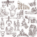 Old art collections of hand drawn illustrations isolated on white native and around the world Stock Photography