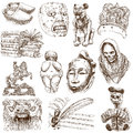 Old art native and around the world set no white set collection of an hand drawn illustrations description full sized hand drawn Royalty Free Stock Photo