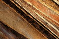 Old artisanal roof tiles made of clay and showing a diagonal pattern Stock Photography